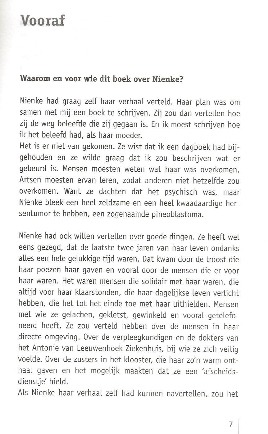 1e pagina boek Niene